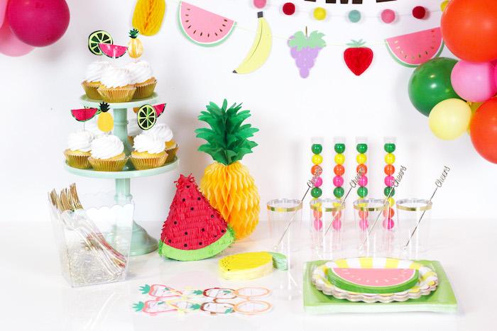 Tutti Frutti Party Table from a Tutti Frutti Summer Party on Kara's Party Ideas | KarasPartyIdeas.com (25)