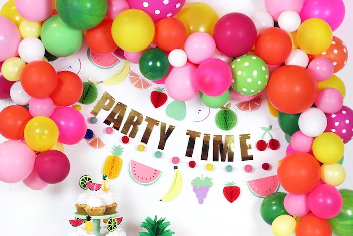 Party Time Balloon Garland + Backdrop from a Balloon Garland from a Tutti Frutti Summer Party on Kara's Party Ideas | KarasPartyIdeas.com (24)