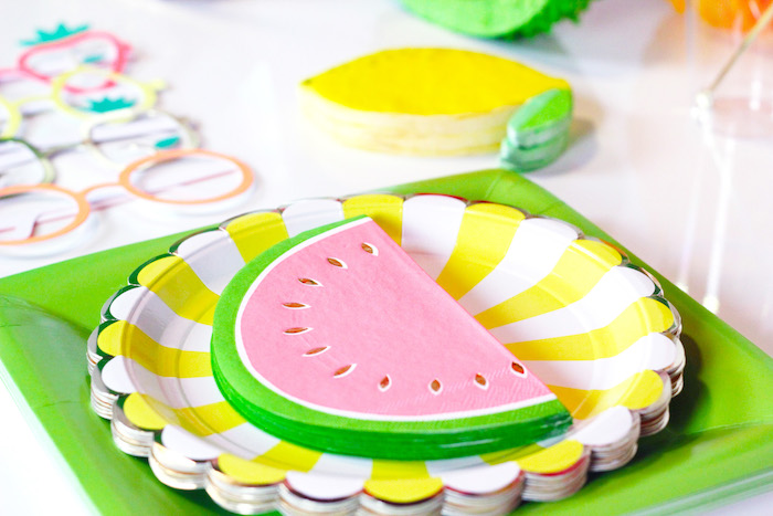 Watermelon Napkins + Fruit-inspired Partyware from a Tutti Frutti Summer Party on Kara's Party Ideas | KarasPartyIdeas.com (20)