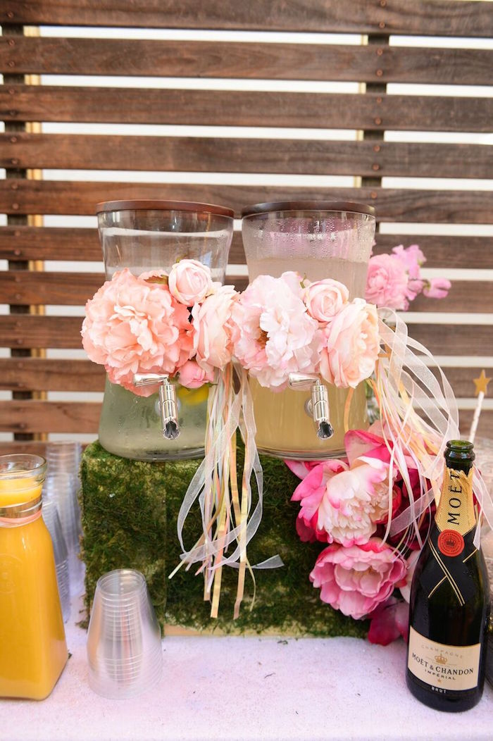 Flower-adorned Beverage Dispensers from a Twinkle Twinkle Little Star Birthday Party on Kara's Party Ideas | KarasPartyIdeas.com (19)
