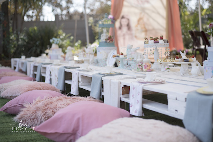 White Pallet Board Guest Table from a Vintage Bunny High Tea on Kara's Party Ideas | KarasPartyIdeas.com (33)
