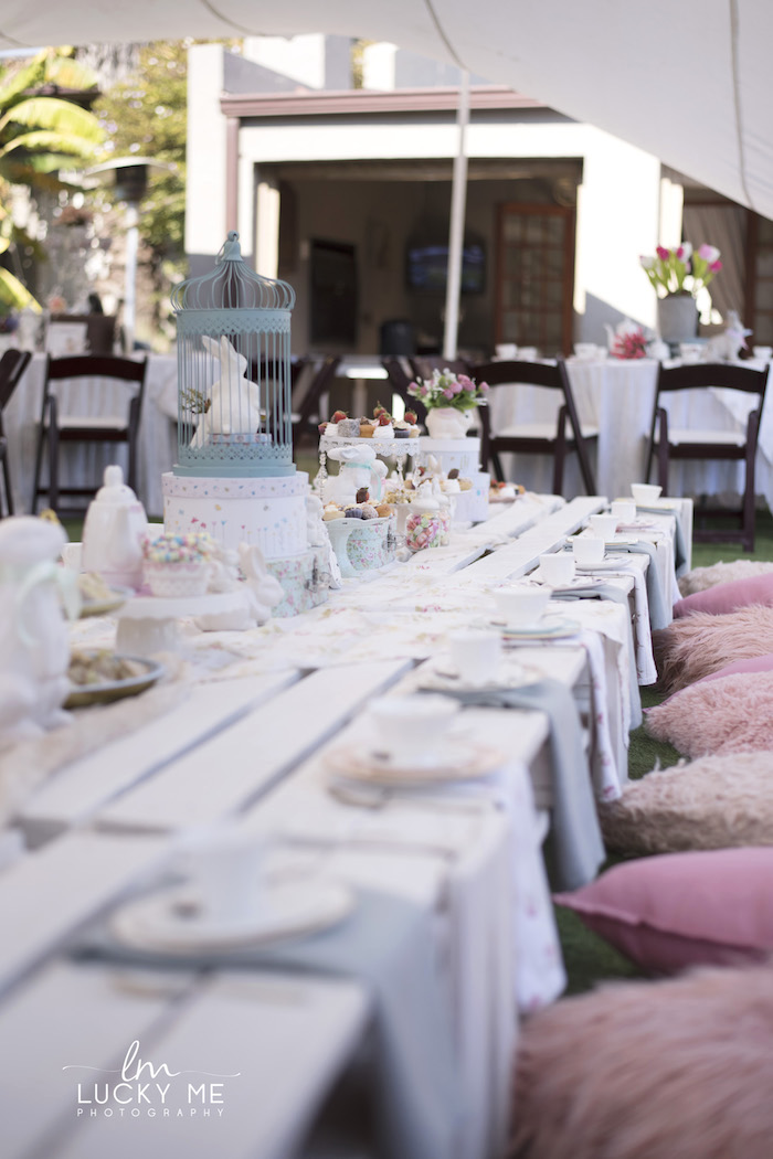 White Pallet Board Guest Table from a Vintage Bunny High Tea on Kara's Party Ideas | KarasPartyIdeas.com (30)