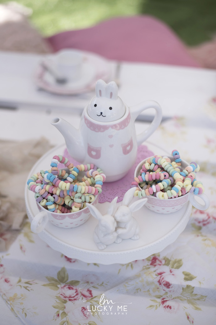 Bunny Tea Kettle + Sweet Pedestal from a Vintage Bunny High Tea on Kara's Party Ideas | KarasPartyIdeas.com (28)