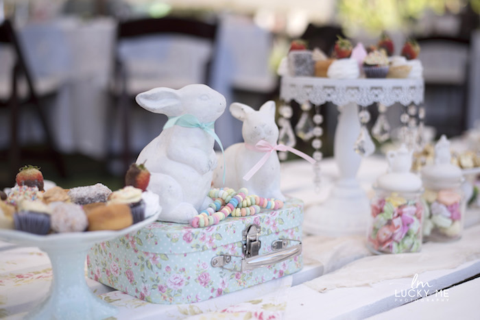Ceramic Bunny Table Centerpiece from a Vintage Bunny High Tea on Kara's Party Ideas | KarasPartyIdeas.com (26)
