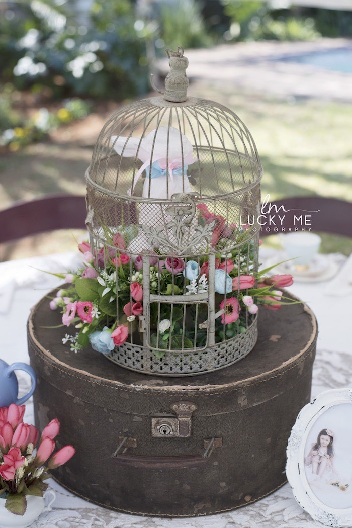 Garden Cage + Bunny Table Centerpiece from a Vintage Bunny High Tea on Kara's Party Ideas | KarasPartyIdeas.com (20)