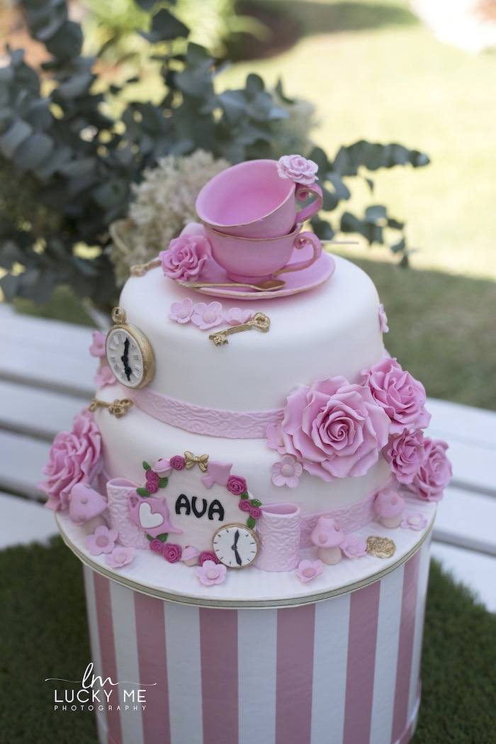 High Tea-inspired Birthday Cake from a Vintage Bunny High Tea on Kara's Party Ideas | KarasPartyIdeas.com (17)