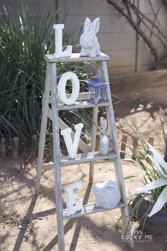 """LOVE"" Ladder from a Vintage Bunny High Tea on Kara's Party Ideas 