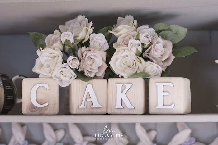 """CAKE"" Block Letters from a Vintage Bunny High Tea on Kara's Party Ideas 