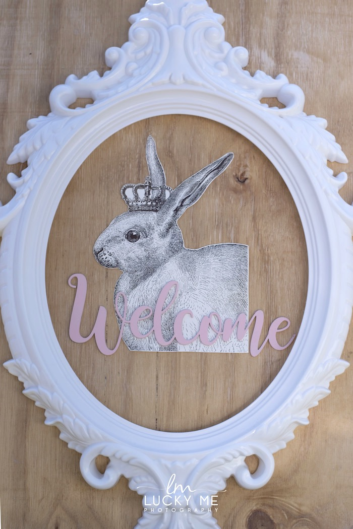 Bunny Welcome Sign from a Vintage Bunny High Tea on Kara's Party Ideas | KarasPartyIdeas.com (5)