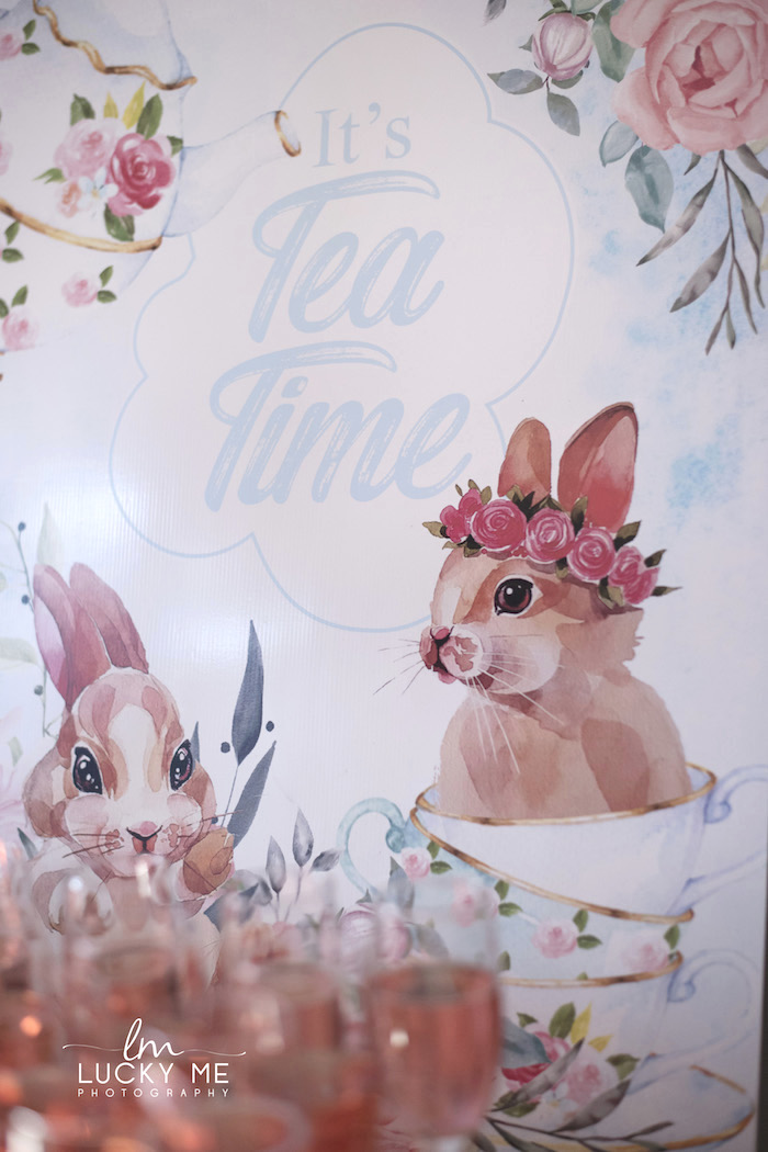 Tea Time Bunny Backdrop + Signage from a Vintage Bunny High Tea on Kara's Party Ideas | KarasPartyIdeas.com (40)