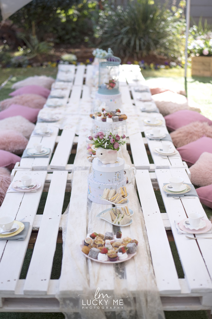 White Pallet Board Guest Tablescape from a Vintage Bunny High Tea on Kara's Party Ideas | KarasPartyIdeas.com (37)
