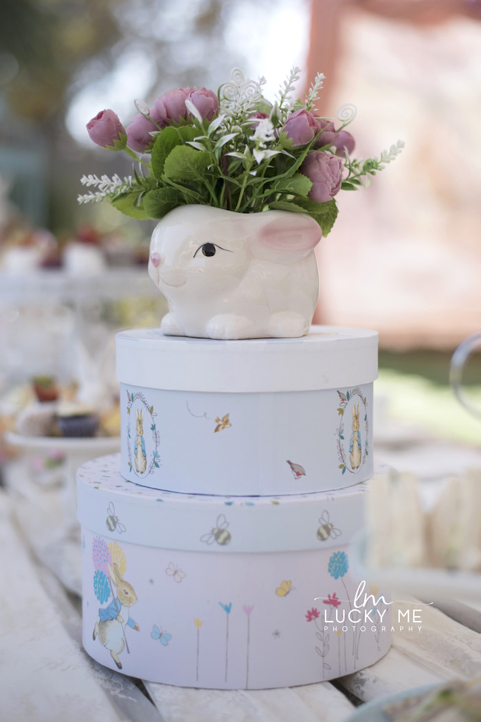 Stacked Box Bunny Bloom Table Centerpiece from a Vintage Bunny High Tea on Kara's Party Ideas | KarasPartyIdeas.com (34)