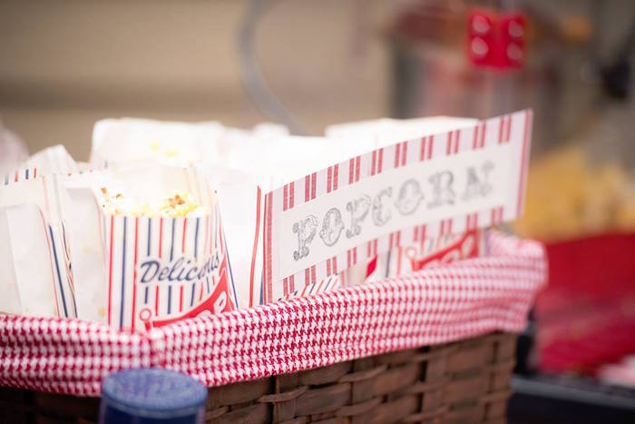Popcorn Basket from a Vintage Circus Birthday Party on Kara's Party Ideas | KarasPartyIdeas.com (14)