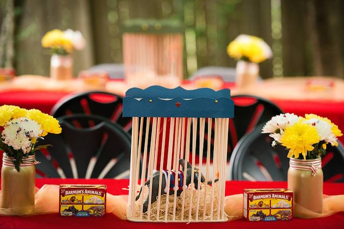 Caged Circus Animal Table Centerpiece + Guest Tablescape from a Vintage Circus Birthday Party on Kara's Party Ideas | KarasPartyIdeas.com (12)