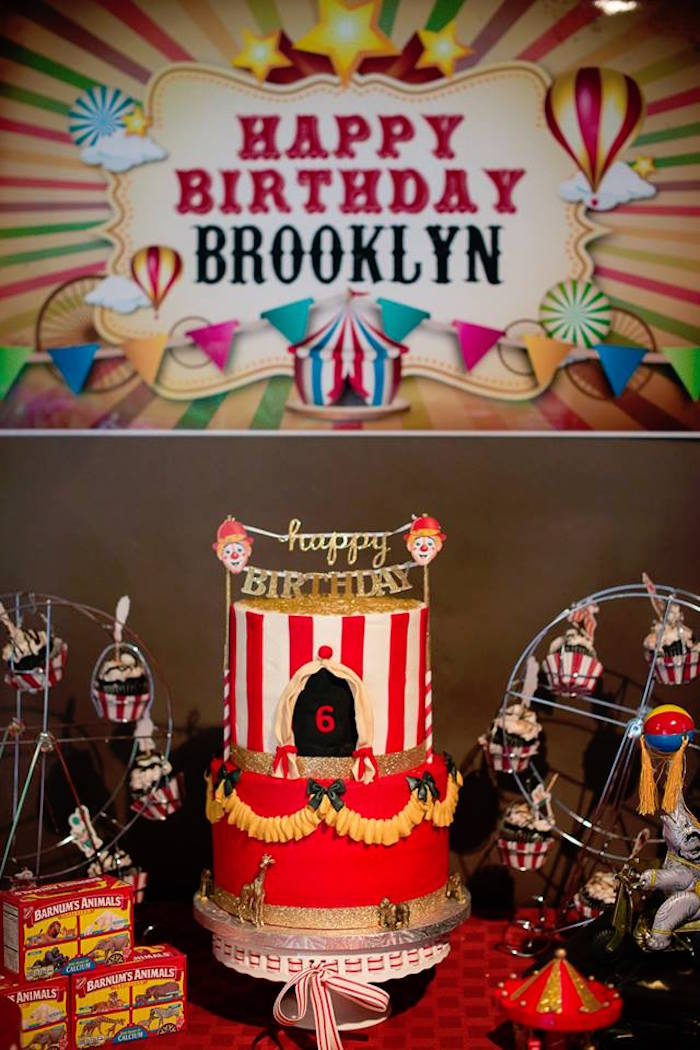 Circus Themed Cake Table from a Vintage Circus Birthday Party on Kara's Party Ideas | KarasPartyIdeas.com (11)