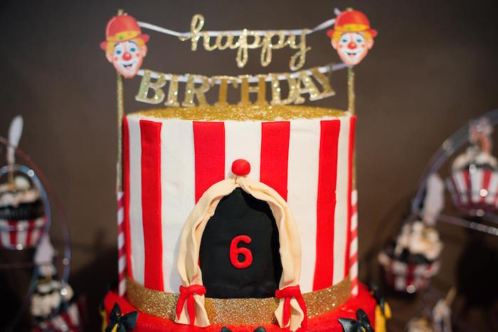 Circus Tent Cake Top from a Vintage Circus Birthday Party on Kara's Party Ideas | KarasPartyIdeas.com (8)