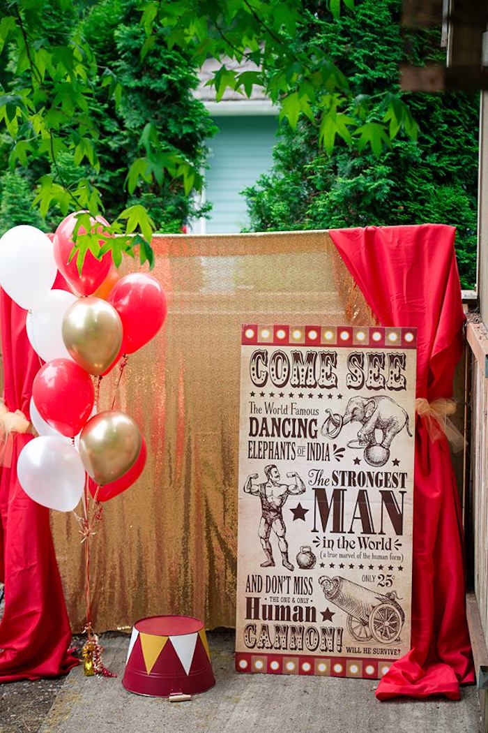 Vintage Circus Photo Booth from a Vintage Circus Birthday Party on Kara's Party Ideas | KarasPartyIdeas.com (24)
