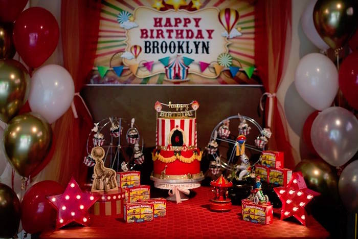 Circus Themed Dessert Table from a Vintage Circus Birthday Party on Kara's Party Ideas | KarasPartyIdeas.com (20)