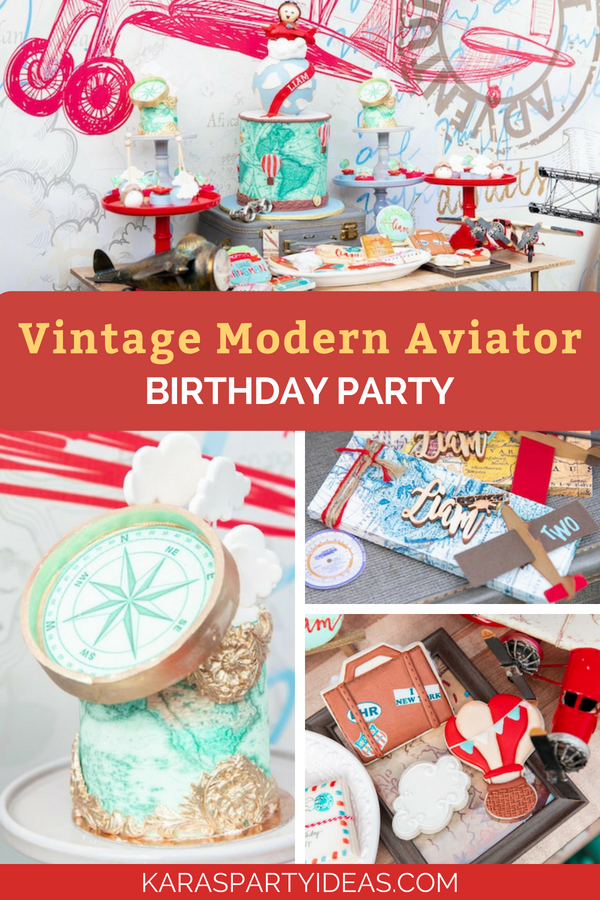 Vintage Modern Aviator Birthday Party via Kara's Party Ideas - KarasPartyIdeas.com (1)