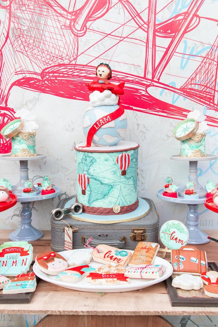Aviator Cake Tablescape from a Vintage Modern Aviator Birthday Party on Kara's Party Ideas | KarasPartyIdeas.com (35)