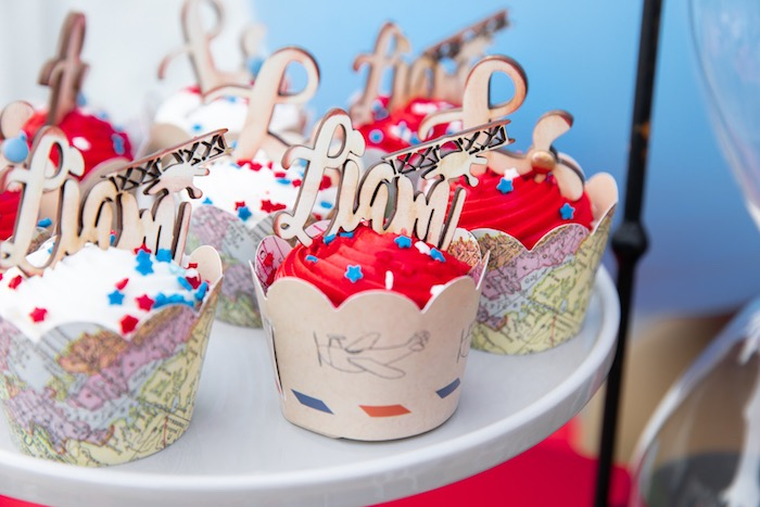 Around the World Aviator Cupcakes from a Vintage Modern Aviator Birthday Party on Kara's Party Ideas | KarasPartyIdeas.com (34)