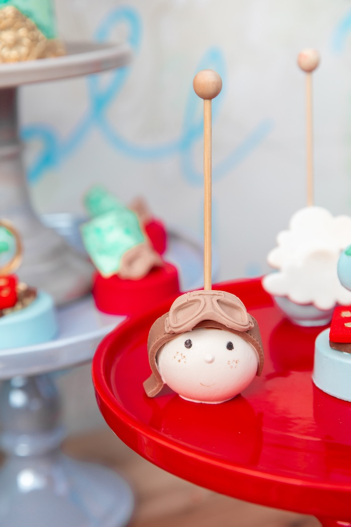 Aviator Cake Pop from a Vintage Modern Aviator Birthday Party on Kara's Party Ideas | KarasPartyIdeas.com (33)