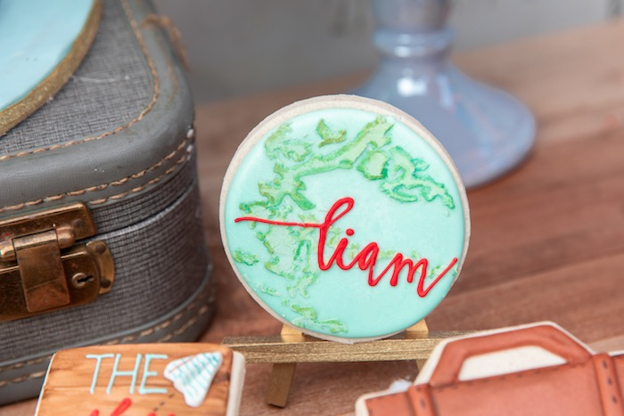 Globe Cookie from a Vintage Modern Aviator Birthday Party on Kara's Party Ideas | KarasPartyIdeas.com (32)