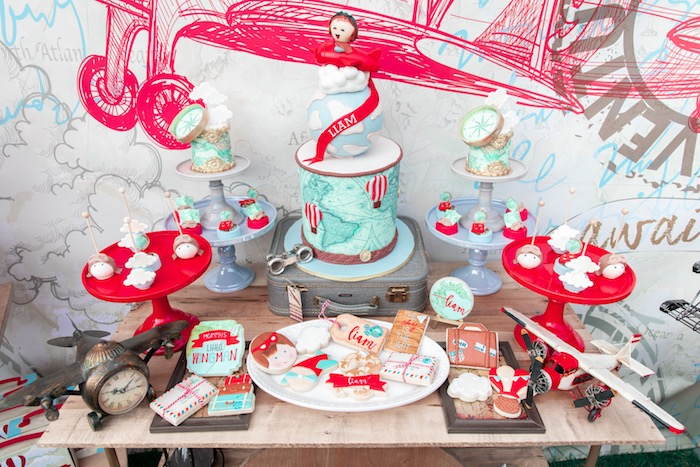 Around the World Aviator Dessert Table from a Vintage Modern Aviator Birthday Party on Kara's Party Ideas | KarasPartyIdeas.com (31)