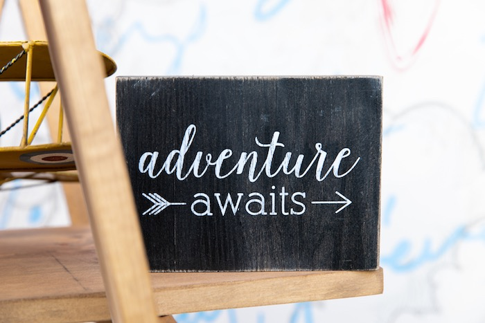 Adventure Awaits Sign from a Vintage Modern Aviator Birthday Party on Kara's Party Ideas | KarasPartyIdeas.com (30)