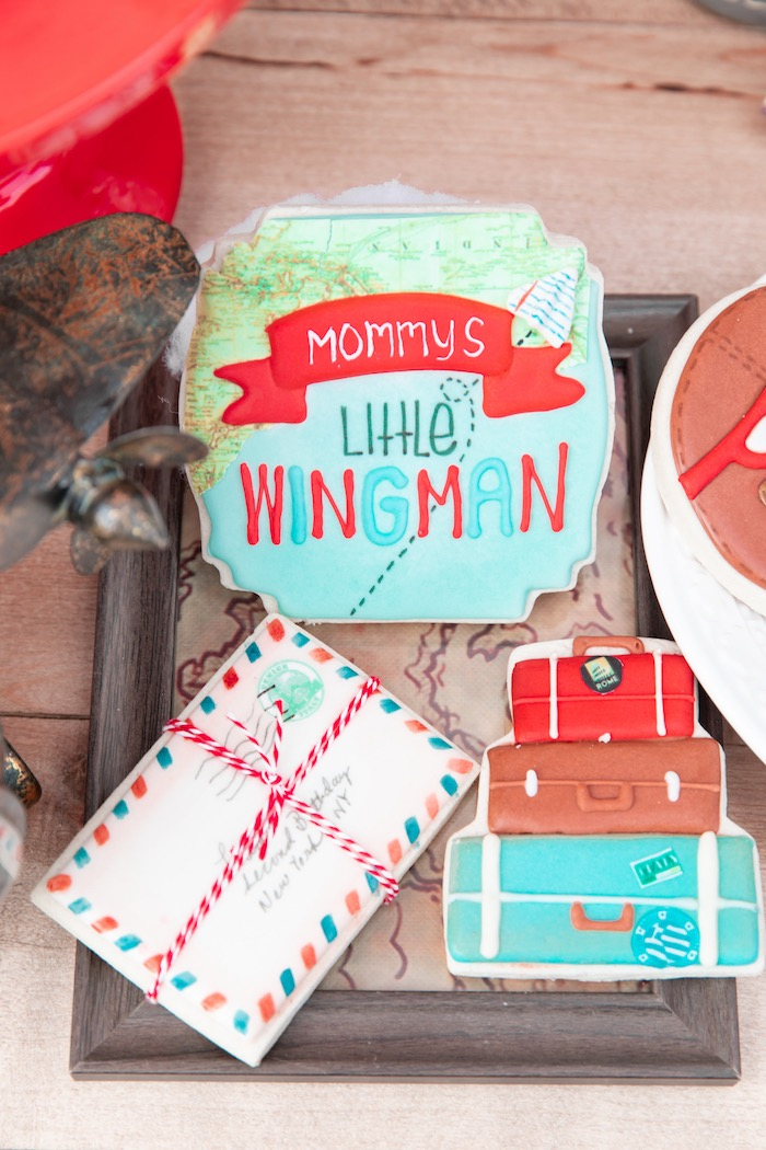 Wingman Cookies from a Vintage Modern Aviator Birthday Party on Kara's Party Ideas | KarasPartyIdeas.com (27)