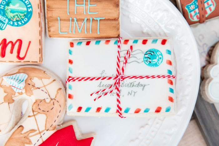 Stamped Envelope + Letter Cookie from a Vintage Modern Aviator Birthday Party on Kara's Party Ideas | KarasPartyIdeas.com (45)