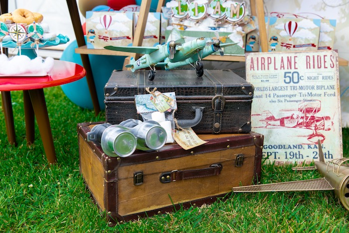 Vintage Travel Decor from a Vintage Modern Aviator Birthday Party on Kara's Party Ideas | KarasPartyIdeas.com (26)