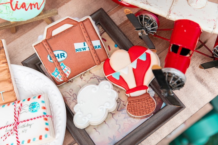 Vintage Travel Cookies from a Vintage Modern Aviator Birthday Party on Kara's Party Ideas | KarasPartyIdeas.com (25)