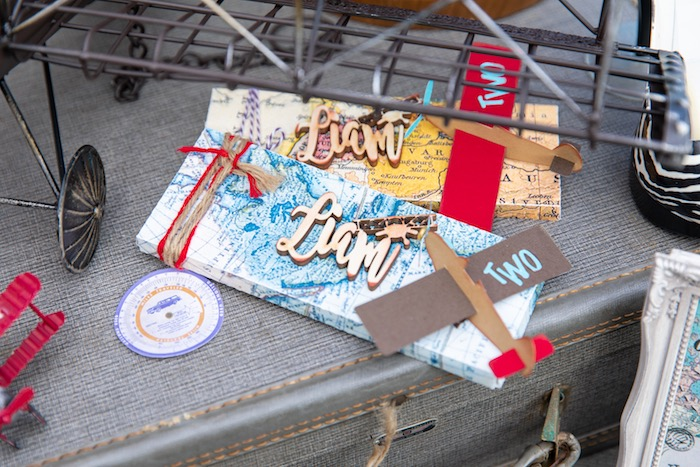Map-wrapped + Around the World Aviator Candy Bars from a Vintage Modern Aviator Birthday Party on Kara's Party Ideas | KarasPartyIdeas.com (22)