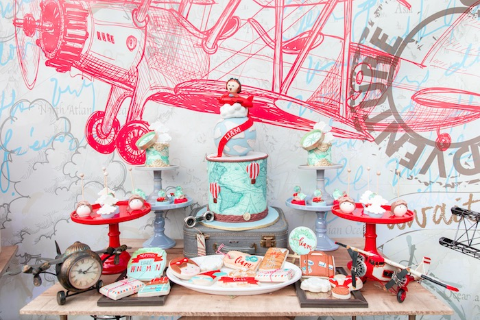 Airplane Themed Dessert Table from a Vintage Modern Aviator Birthday Party on Kara's Party Ideas | KarasPartyIdeas.com (21)