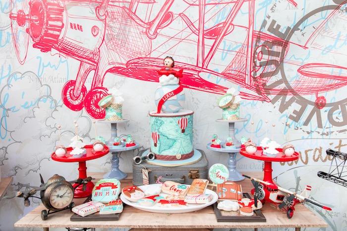 Airplane Themed Dessert Table from a Vintage Modern Aviator Birthday Party on Kara's Party Ideas | KarasPartyIdeas.com (21)
