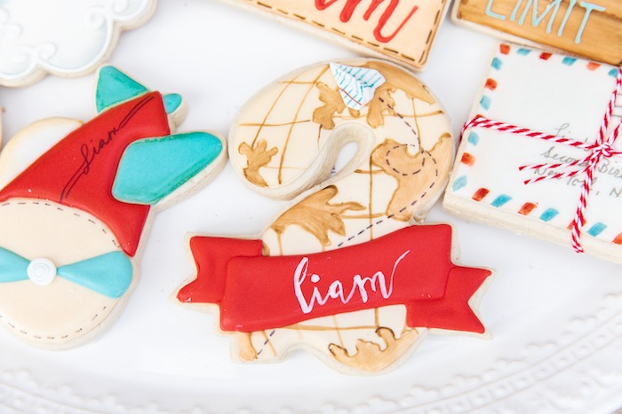Travel-inspired Cookies from a Vintage Modern Aviator Birthday Party on Kara's Party Ideas | KarasPartyIdeas.com (20)