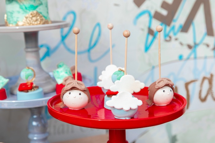 Aviator + Cloud Cake Pops from a Vintage Modern Aviator Birthday Party on Kara's Party Ideas | KarasPartyIdeas.com (19)