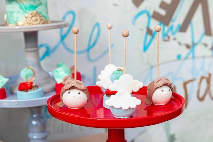 Aviator + Cloud Cake Pops from a Vintage Modern Aviator Birthday Party on Kara's Party Ideas | KarasPartyIdeas.com (19)