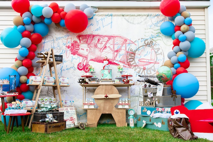 Vintage Modern Aviator Birthday Party on Kara's Party Ideas | KarasPartyIdeas.com (44)