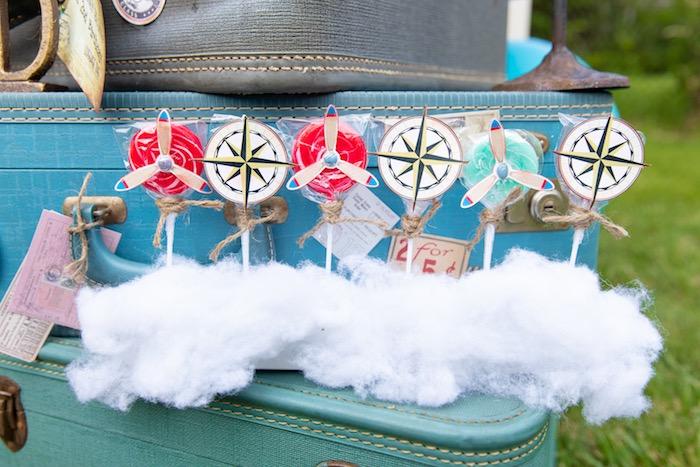 Airplane + Compass Lollipops from a Vintage Modern Aviator Birthday Party on Kara's Party Ideas | KarasPartyIdeas.com (16)