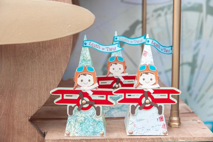 Aviator Favor Cones from a Vintage Modern Aviator Birthday Party on Kara's Party Ideas | KarasPartyIdeas.com (15)