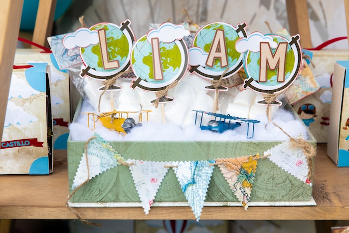 Globe Name Sign from a Vintage Modern Aviator Birthday Party on Kara's Party Ideas | KarasPartyIdeas.com (13)