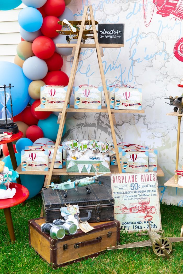 Ladder Favor Shelf from a Vintage Modern Aviator Birthday Party on Kara's Party Ideas | KarasPartyIdeas.com (11)