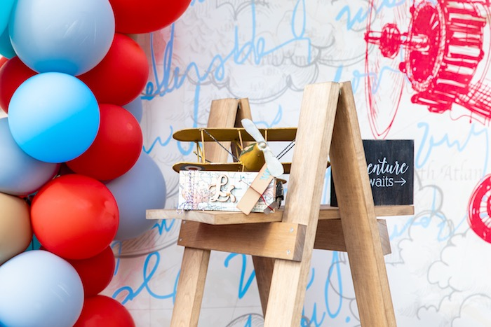 Airplane + Decor from a Vintage Modern Aviator Birthday Party on Kara's Party Ideas | KarasPartyIdeas.com (10)