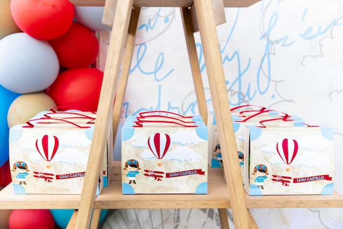 Aviator + Travel Favor Boxes from a Vintage Modern Aviator Birthday Party on Kara's Party Ideas | KarasPartyIdeas.com (9)