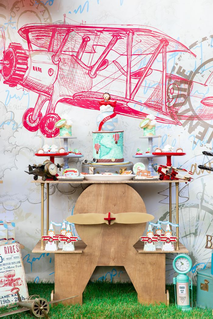 Airplane Dessert Table from a Vintage Modern Aviator Birthday Party on Kara's Party Ideas | KarasPartyIdeas.com (7)