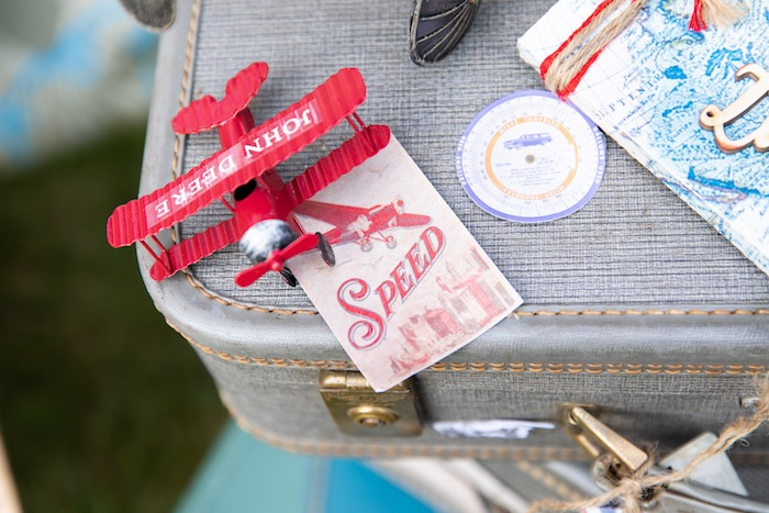 Vintage Airplane + Tag from a Vintage Modern Aviator Birthday Party on Kara's Party Ideas | KarasPartyIdeas.com (42)