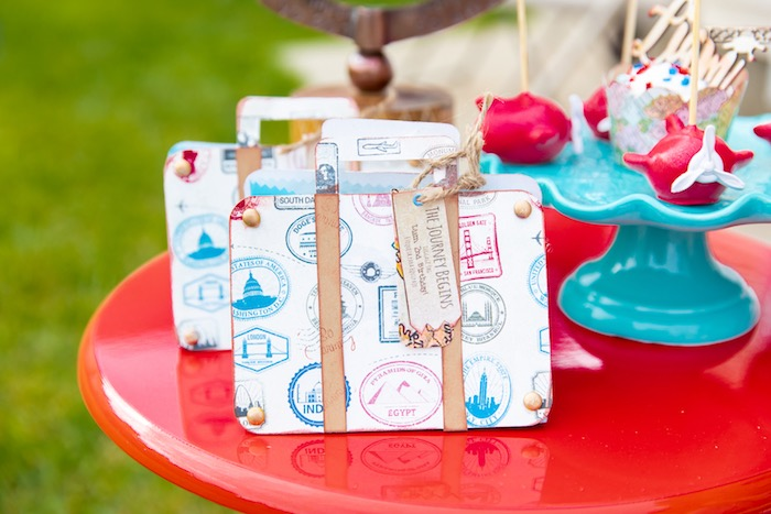 Vintage Suitcase Favor Bags from a Vintage Modern Aviator Birthday Party on Kara's Party Ideas | KarasPartyIdeas.com (41)
