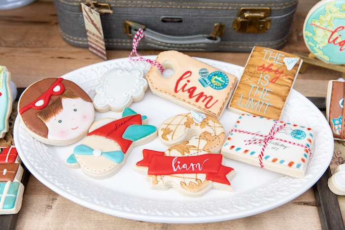 Around the World Aviator Cookies from a Vintage Modern Aviator Birthday Party on Kara's Party Ideas | KarasPartyIdeas.com (40)
